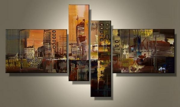 Aliexpress : Buy Hand Painted 4 Piece Wall Art Multi Panel Inside Multiple Panel Wall Art (Image 5 of 20)