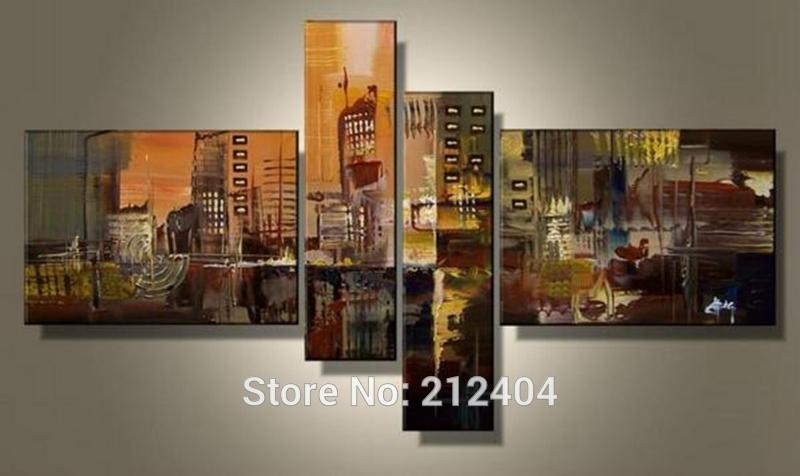 Aliexpress : Buy Hand Painted 4 Piece Wall Art Multi Panel Regarding Wall Art Multiple Pieces (Image 5 of 20)
