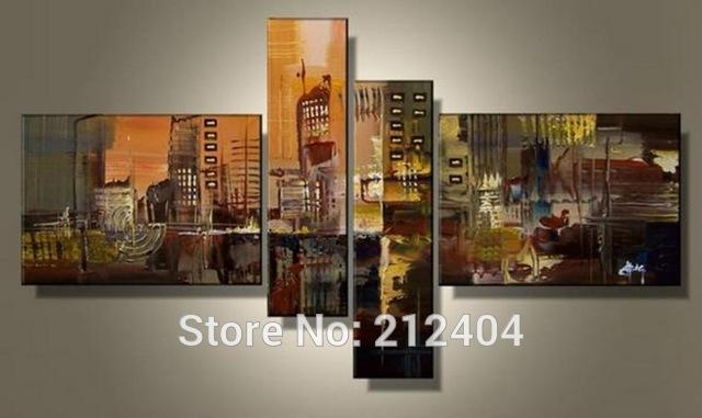 Aliexpress : Buy Hand Painted 4 Piece Wall Art Multi Panel Within Multiple Piece Wall Art (Image 3 of 20)