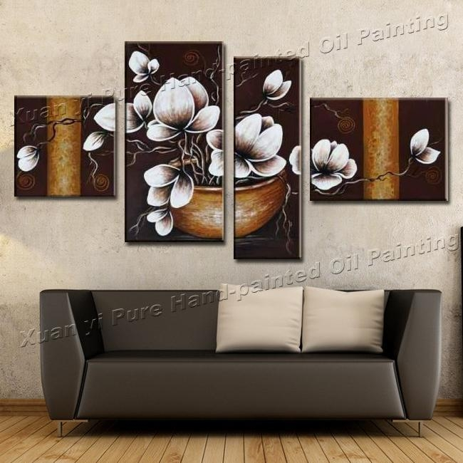 Aliexpress : Buy Handmade 4 Piece Canvas Wall Art Canvas Pertaining To 4 Piece Wall Art Sets (Image 6 of 20)