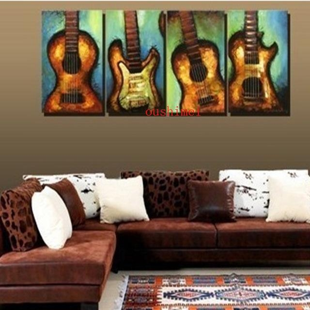 Aliexpress : Buy Handmade Painting Picture On Canvas Wall Art With Regard To Guitar Canvas Wall Art (View 8 of 20)