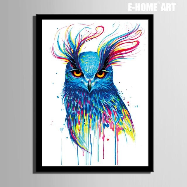 Aliexpress : Buy Hd Colored Owl Framed Canvas Art Print With Regard To Owl Framed Wall Art (Image 6 of 20)