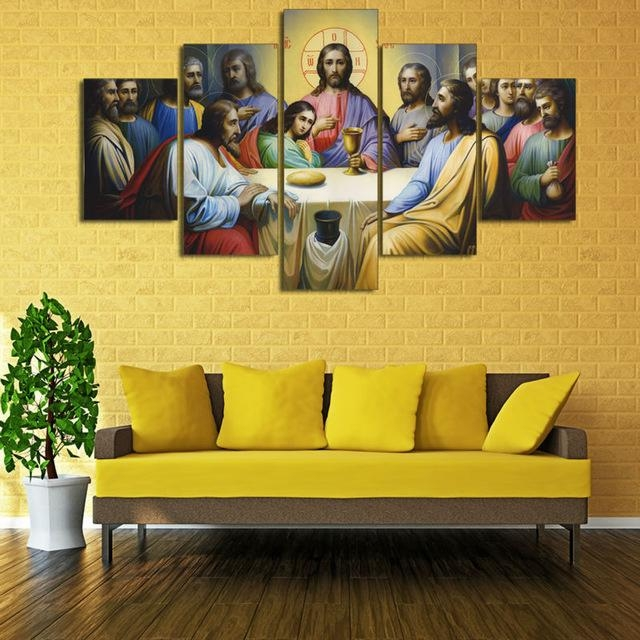 Aliexpress : Buy Hd Print 5 Pcs Canvas Wall Art Print Jesus With Regard To The Last Supper Wall Art (Image 1 of 20)