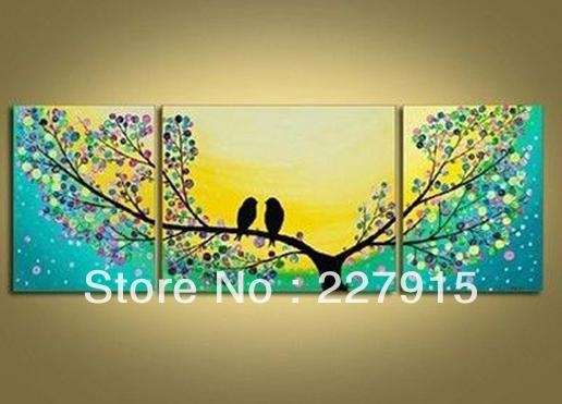 Aliexpress : Buy High Quality 100%handmade Bird Tree Yellow Throughout Yellow And Green Wall Art (Image 6 of 20)