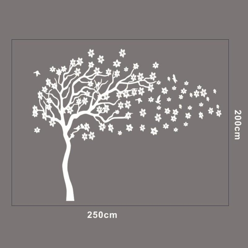 Aliexpress : Buy Huge White Tree Flowers 3D Vinyl Wall Decal With 3D Tree Wall Art (Image 10 of 20)