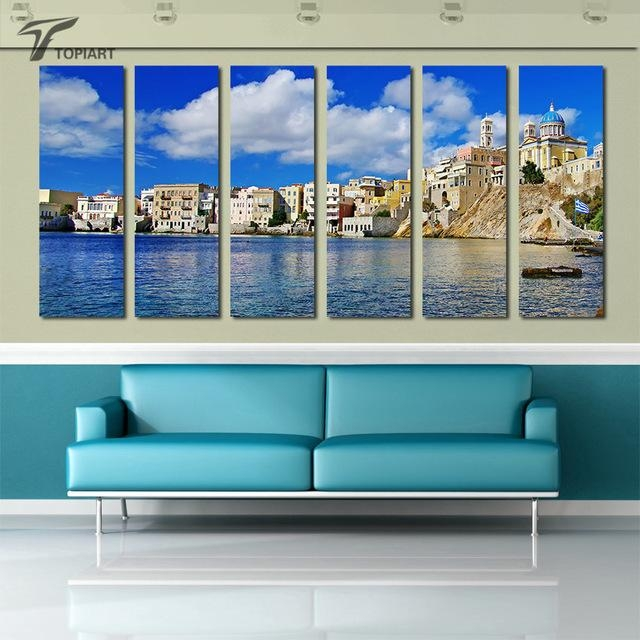 Aliexpress : Buy Island Sea Wall Art Greek Syros Canvas Print Throughout Greek Wall Art (Image 5 of 20)