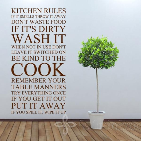 Aliexpress : Buy Large Quote Kitchen Rules Vinyl Wall Art For Large Wall Art For Kitchen (Photo 5 of 20)