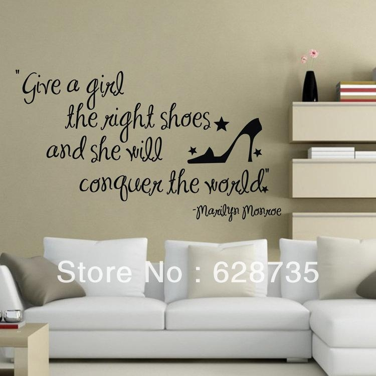"Aliexpress : Buy Large Size ""give A Girl The Right Shoes With Regard To Marilyn Monroe Wall Art Quotes (Image 13 of 20)"