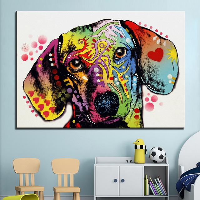 Aliexpress : Buy Large Size Print Oil Painting Wall Painting Regarding Dachshund Wall Art (View 7 of 20)