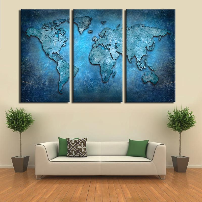 Aliexpress : Buy Large Triptych Wall Art Canvas World Map Pertaining To Dark Blue Wall Art (Image 3 of 20)