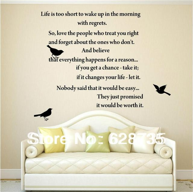 Aliexpress : Buy Life Is Too Short Inspirational Poems Wall With Inspirational Sayings Wall Art (Image 4 of 20)