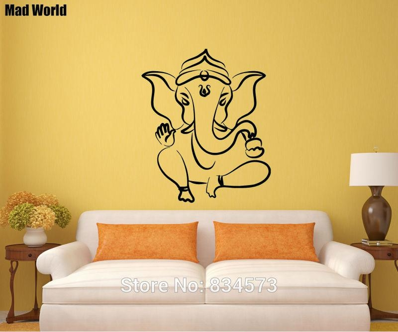 Aliexpress : Buy Mad World Ganesh Lord Yoga Decal Om Symbol Inside Ganesh Wall Art (View 8 of 20)