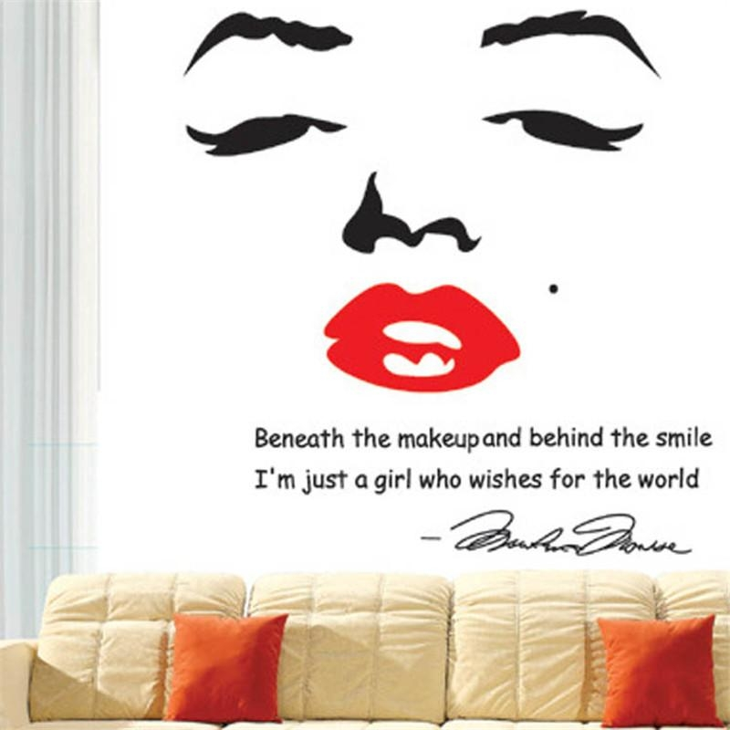 Aliexpress : Buy Marilyn Monroe Wall Decal Removable Art Home Inside Marilyn Monroe Wall Art (Image 6 of 20)