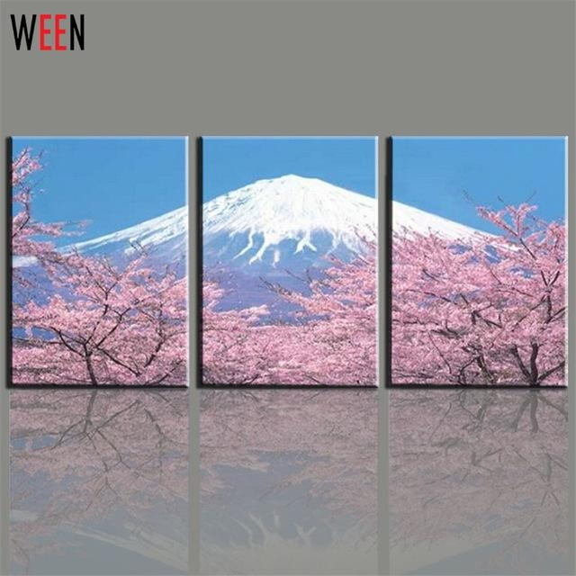 Aliexpress : Buy Modern 3 Panel Japanese Mount Canvas Wall Art In Japanese Wall Art Panels (Image 4 of 20)