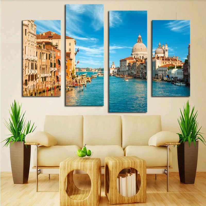 Aliexpress : Buy Modern Canvas Painting 4 Pieces Wall Art Inside 4 Piece Wall Art (Image 10 of 20)