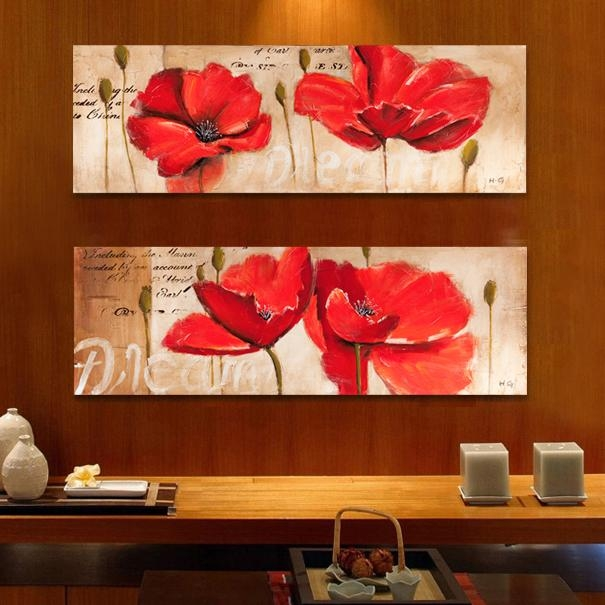 Aliexpress : Buy Modern Hand Painted Oil Canvas Print Red Intended For Red Poppy Canvas Wall Art (Image 5 of 20)