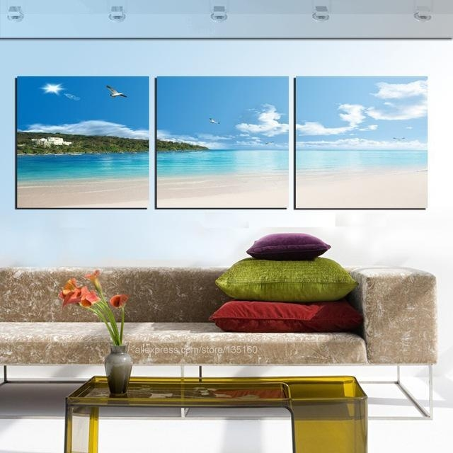 Aliexpress : Buy Modern Home Decor 3 Piece Wall Art Canvas For Coastal Wall Art Canvas (Image 3 of 20)