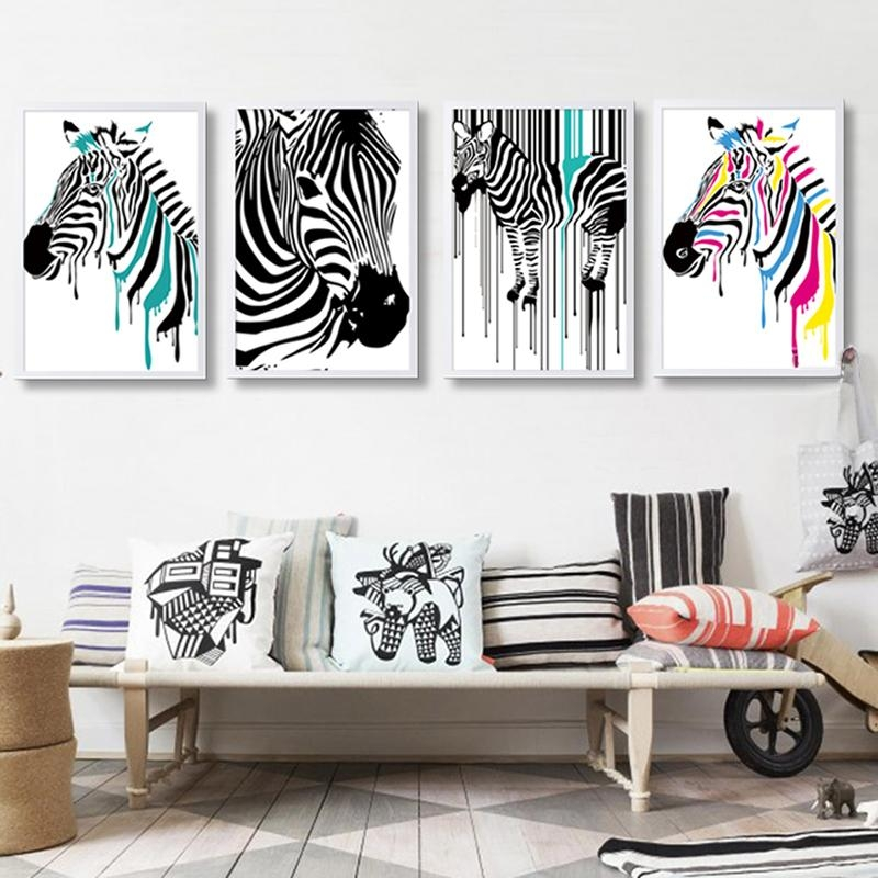 Aliexpress : Buy Modern Zebra Canvas Painting Animals Posters For Zebra Wall Art Canvas (View 12 of 20)