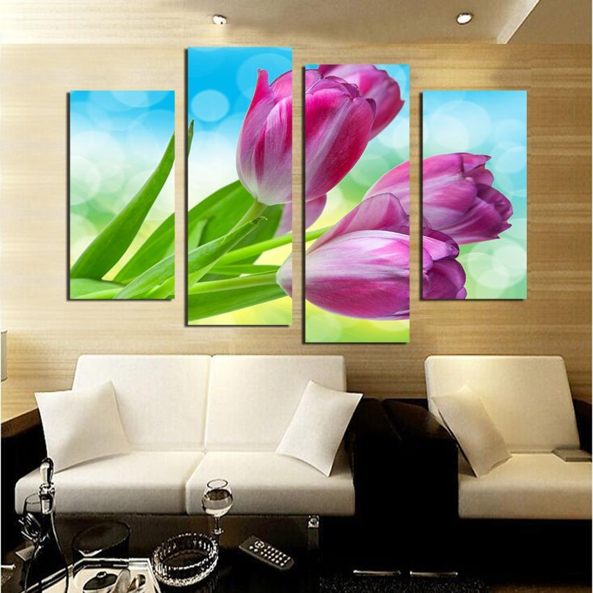 Aliexpress : Buy Modular Wall Painting Tulips Canvas Painting With Modular Wall Art (Image 6 of 20)