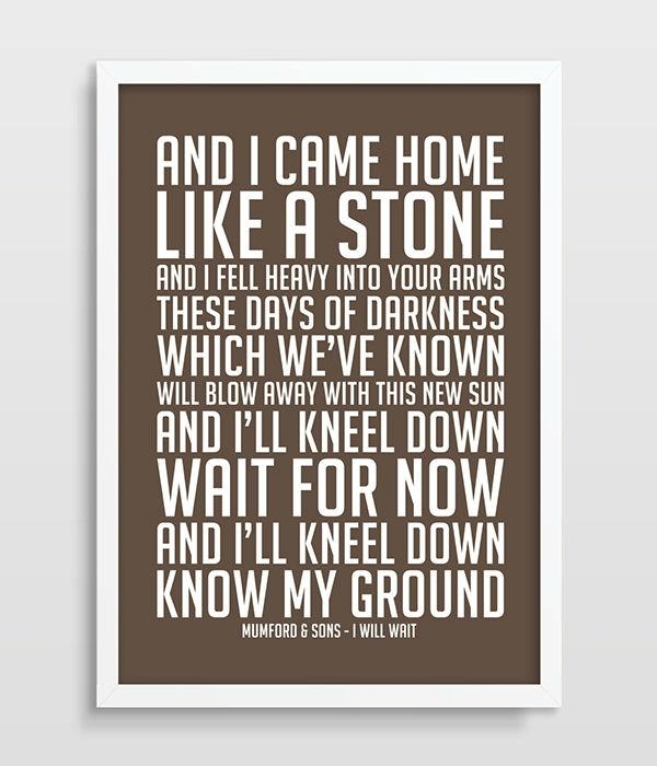 Aliexpress : Buy Mumford & Sons I Will Wait Music Lyrics Song Intended For Music Lyrics Wall Art (View 1 of 20)