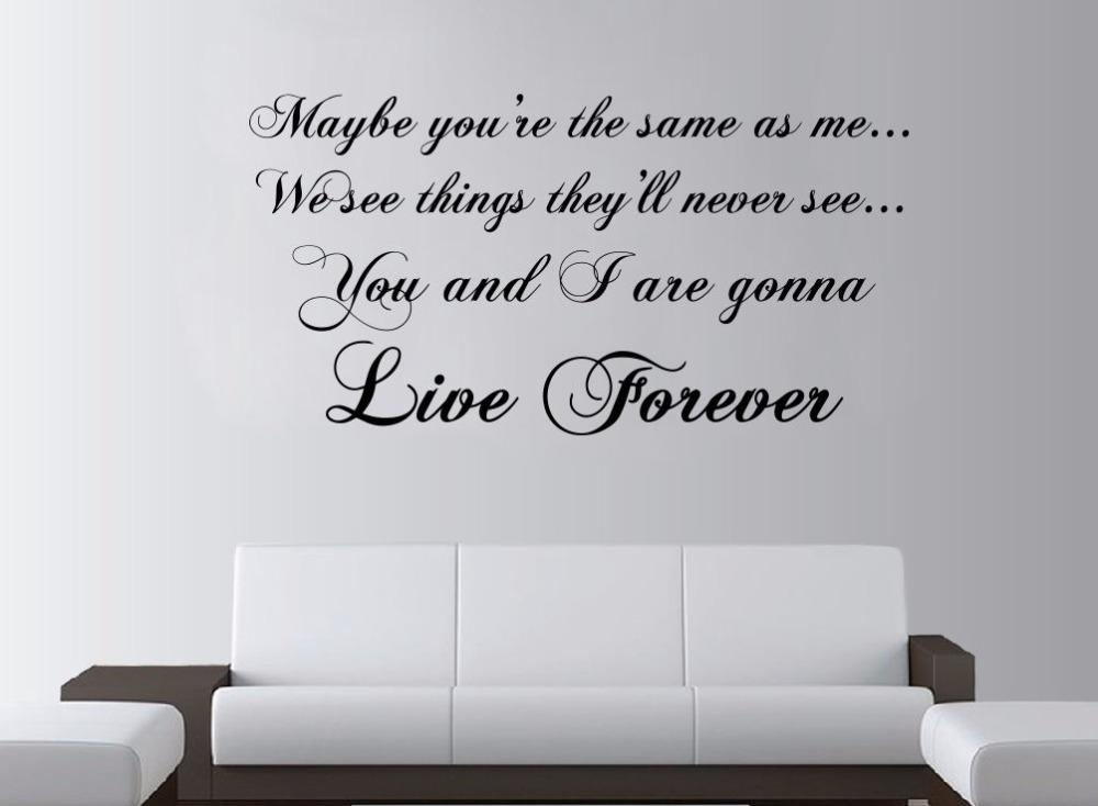 Aliexpress : Buy Oasis Live Forever Lyrics Large Wall Art Rock Throughout Music Lyrics Wall Art (Image 6 of 20)