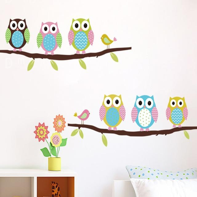 Aliexpress : Buy Owl Wall Stickers Cartoon Decals Wall Art Inside Owl Wall Art Stickers (View 7 of 20)