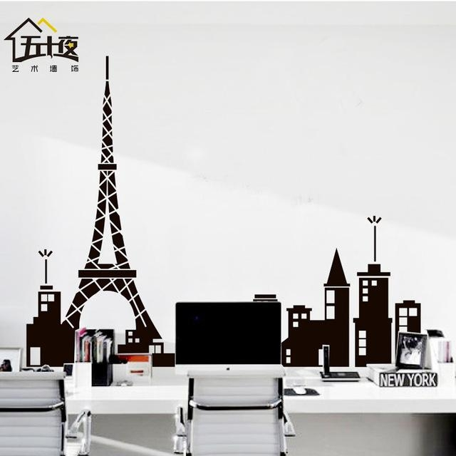 Aliexpress : Buy Paris Vinyl Wall Decal Paris Tower Eiffel Regarding Paris Vinyl Wall Art (Image 3 of 20)