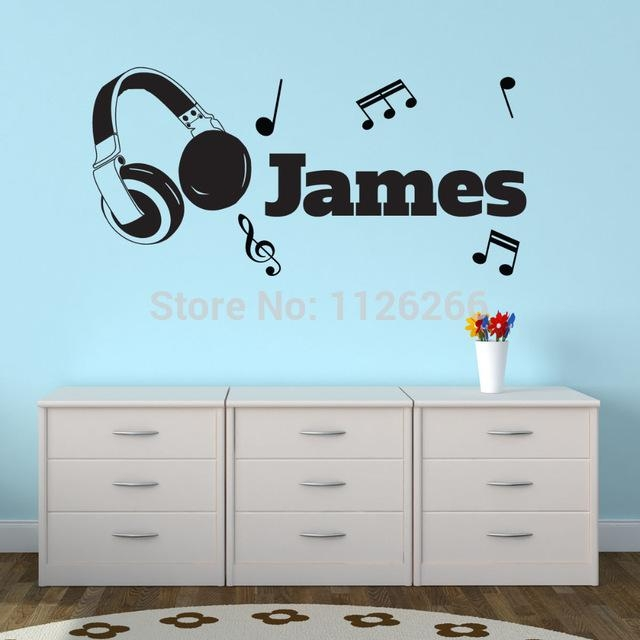 Aliexpress : Buy Personalised Vinyl Wall Sticker Headphones Inside Music Note Art For Walls (View 13 of 20)