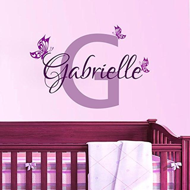 Aliexpress : Buy Personalized Butterfly Name Vinyl Wall Art Pertaining To Baby Name Wall Art (Image 3 of 20)