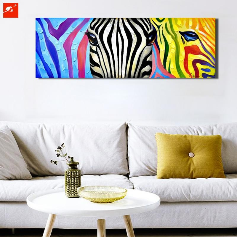 Aliexpress : Buy Pop Colourful Animal Wall Art Zebra Canvas Regarding Zebra Wall Art Canvas (Photo 10 of 20)