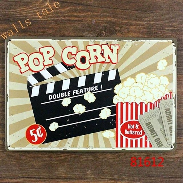 Aliexpress : Buy Retro Metal Tin Sign Pop Corn For Home Intended For Home Theater Wall Art (Image 5 of 20)
