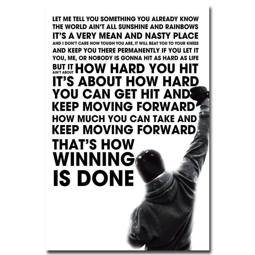 Aliexpress : Buy Rocky Balboa Motivational Quote Art Silk For Rocky Balboa Wall Art (Image 4 of 20)