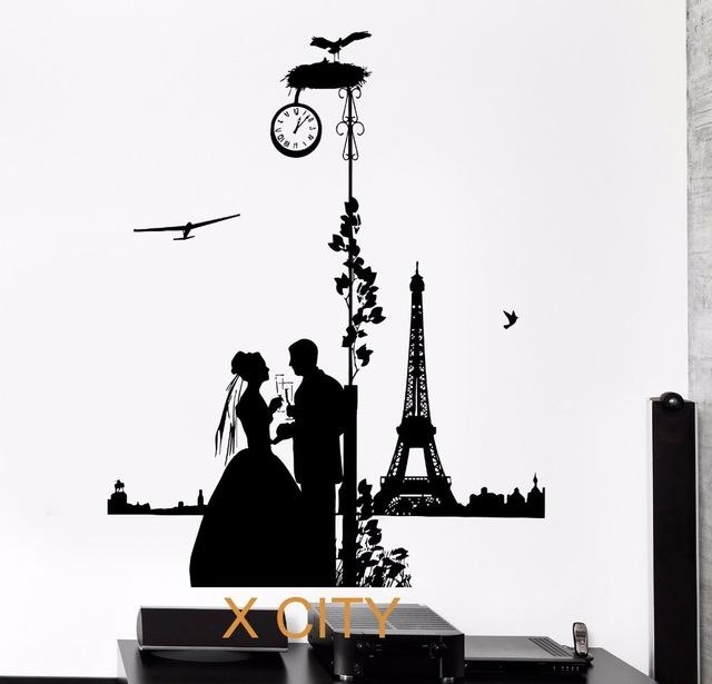 Aliexpress : Buy Romantic Lovers In Paris Silhouette Black Inside Paris Vinyl Wall Art (Image 4 of 20)