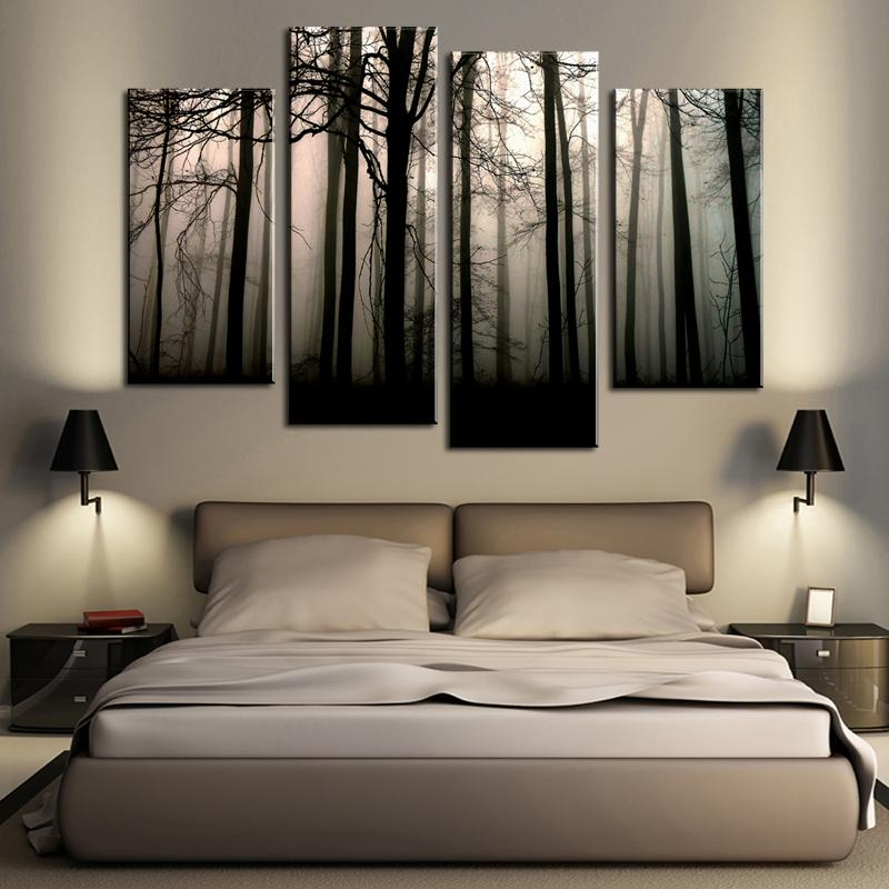 Aliexpress : Buy Rushed Modular Wall Painting Gray Woods Wall Throughout Modular Wall Art (Image 7 of 20)
