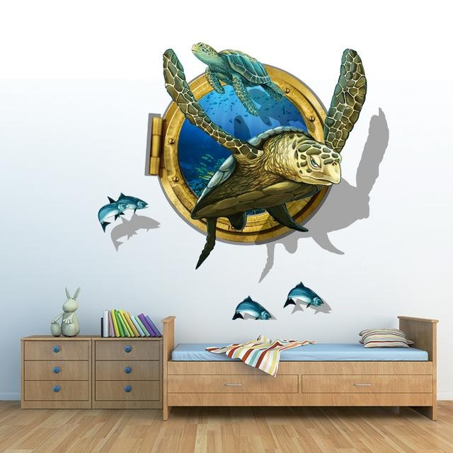 Aliexpress : Buy Sea Aquarium Turtle 3D Wall Stickers Creative With 3D Wall Art (View 17 of 20)