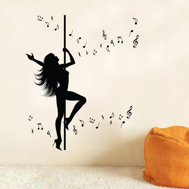 Aliexpress : Buy Sexy Girl Pole Dancing Wall Art Mural Decor Within Music Note Art For Walls (View 10 of 20)