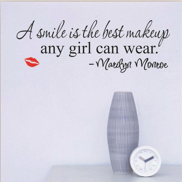 Aliexpress : Buy Smile Makeup Marilyn Monroe Quote Vinyl Wall Throughout Marilyn Monroe Wall Art Quotes (Image 14 of 20)