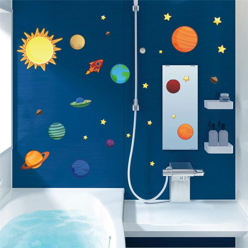 Aliexpress : Buy Solar System Planets Moon Wall Decals Kids With Regard To Solar System Wall Art (Image 7 of 20)