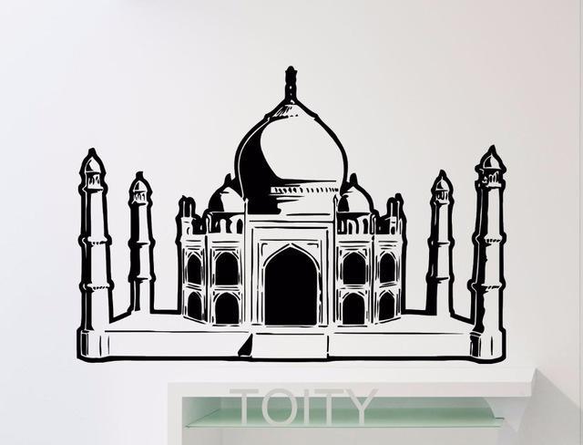 Aliexpress : Buy Taj Mahal Sticker Wall Art Agra Famous With Regard To Taj Mahal Wall Art (Image 5 of 20)