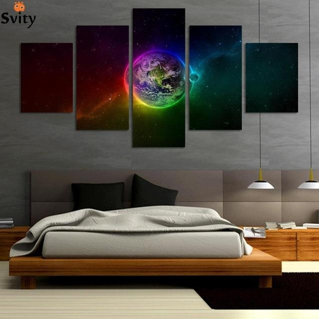 Aliexpress : Buy Unframed Printed Planets Outer Space 5 Piece In Outer Space Wall Art (View 18 of 20)