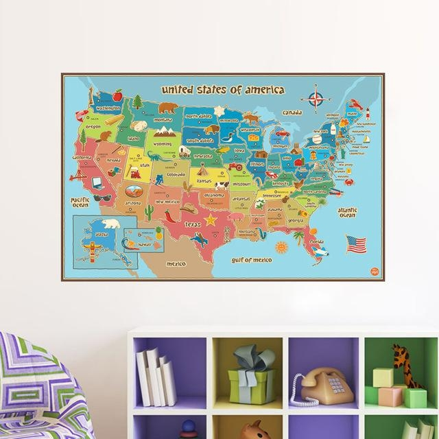 Aliexpress : Buy United State Map Wall Decor Colorful America In United States Map Wall Art (Image 4 of 20)