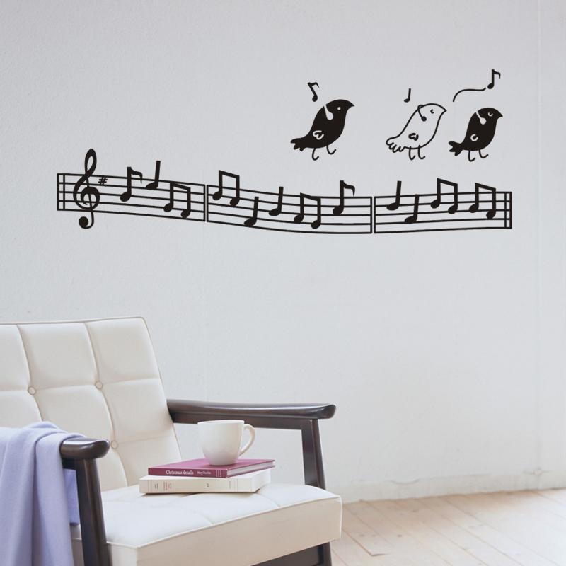 Aliexpress : Buy Wall Music Art Birds Wall Decor Music Notes For Music Note Wall Art (Image 4 of 20)