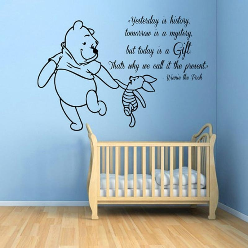 Aliexpress : Buy Winnie The Pooh Wall Decals Piglet Quotes Intended For Winnie The Pooh Nursery Quotes Wall Art (Image 7 of 20)
