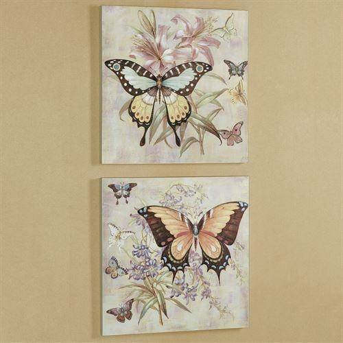 All Aflutter Butterfly Canvas Wall Art Set Inside Butterfly Canvas Wall Art (Image 5 of 20)