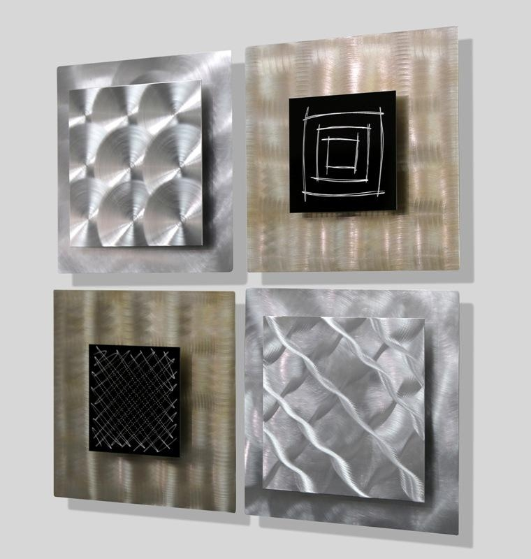 "Altered Reality – Gold & Silver Set Of Four 12"" X 12"" Metal Wall Regarding Black Silver Wall Art (Image 2 of 20)"