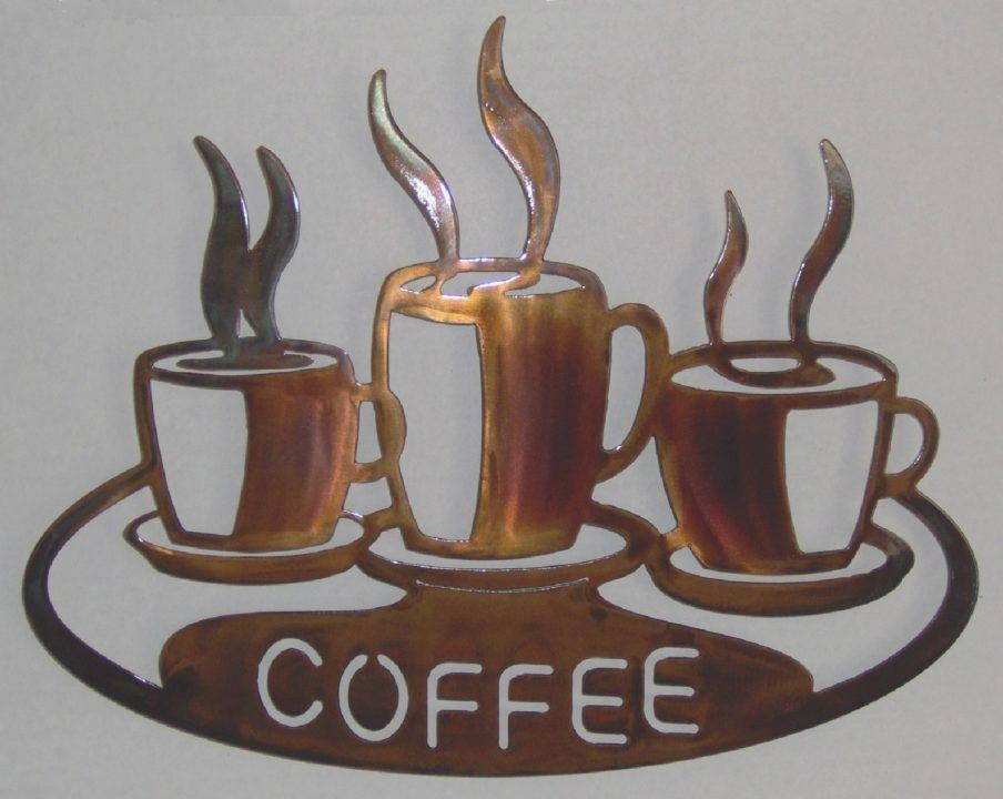 Amazing 3D Metal Coffee Cup Wall Art End Of Trail Circle Metal Within Coffee Theme Metal Wall Art (View 16 of 20)