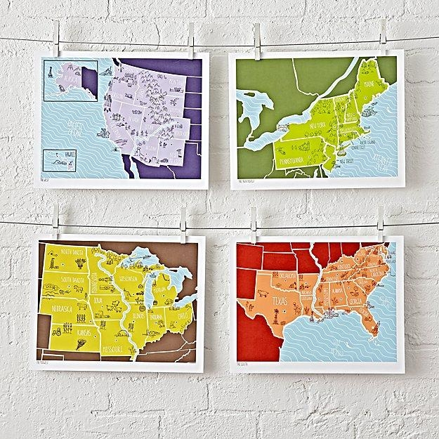 American Atlas Unframed Wall Art (Set Of 4) | The Land Of Nod Intended For Atlas Wall Art (View 4 of 20)