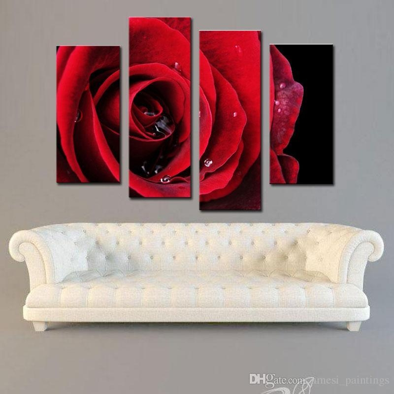 Amesi Canvas Flower Paintings Beautiful Big Red Rose Flower Wall For Red Rose Wall Art (Image 7 of 20)