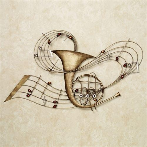 Among The Music French Horn Metal Wall Art Regarding Metal Music Wall Art (Image 3 of 20)