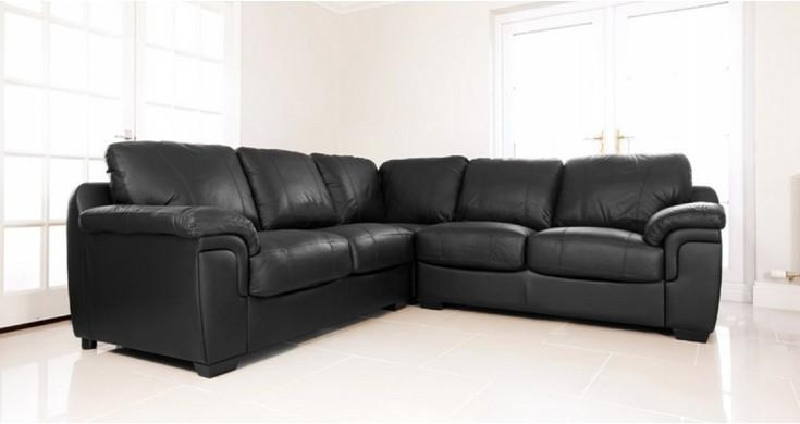 Amore Black Leather Cheap Corner Sofa Suite Within Black Corner Sofas (View 9 of 20)